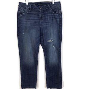 Lane Bryant Straight Leg Raw-Hem Distress Jeans